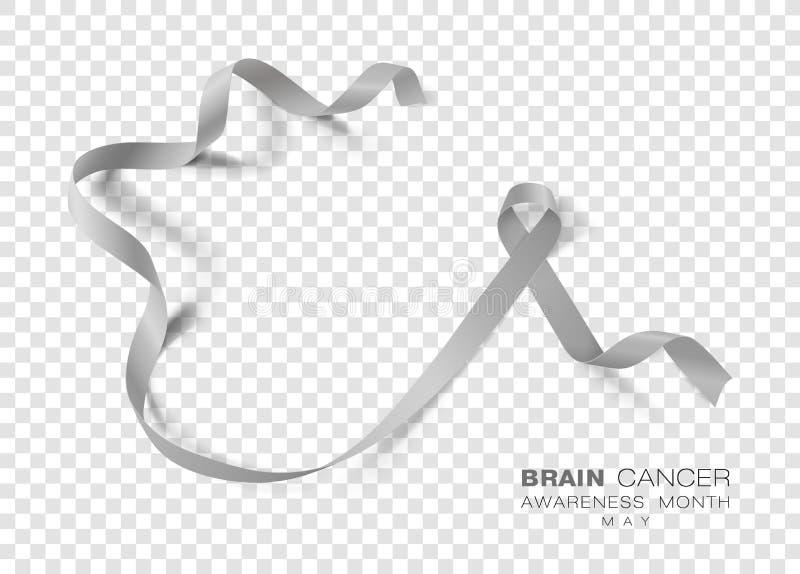 Brain Cancer Awareness Month Fondo transparente de Grey Color Ribbon Isolated On Plantilla del diseño del vector para el cartel libre illustration