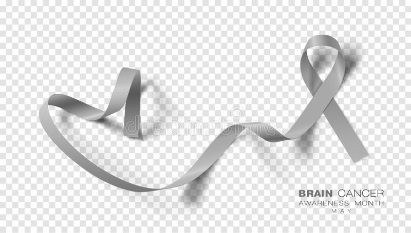 Brain Cancer Awareness Month Fondo trasparente di Grey Color Ribbon Isolated On Modello di progettazione di vettore per il manife illustrazione vettoriale