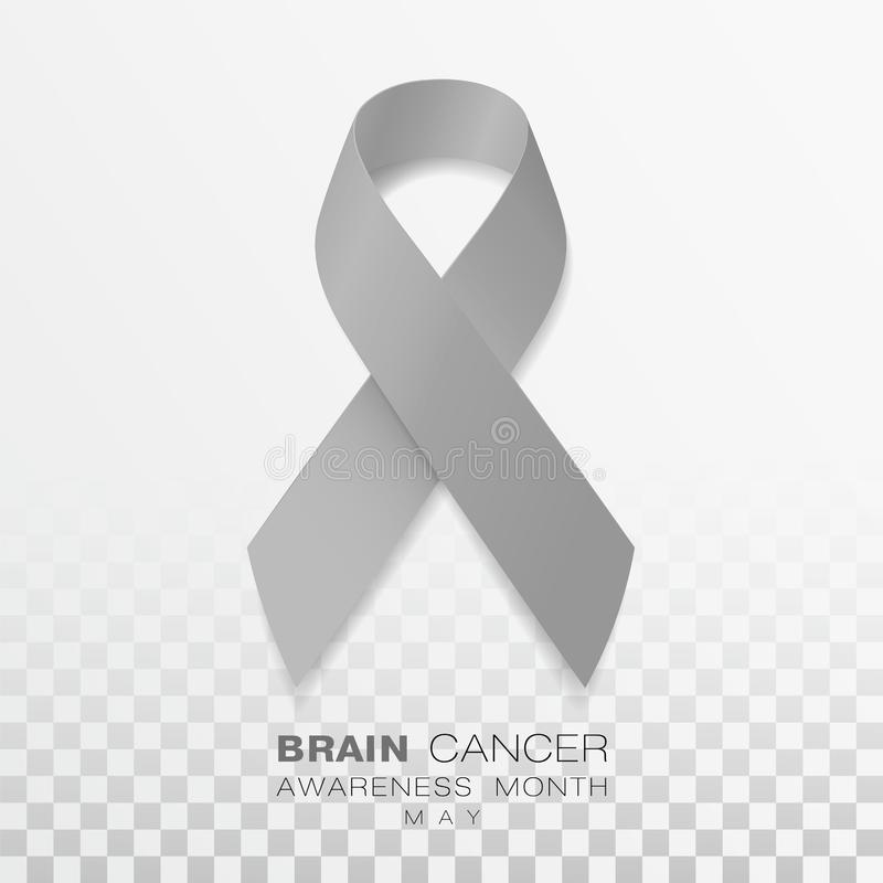 Brain Cancer Awareness Month Fundo transparente de Grey Color Ribbon Isolated On Molde do projeto do vetor para o cartaz ilustração do vetor