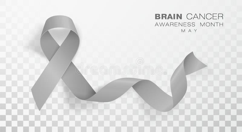 Brain Cancer Awareness Month Fundo transparente de Grey Color Ribbon Isolated On Molde do projeto do vetor para o cartaz ilustração royalty free
