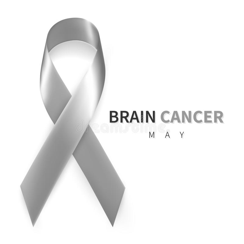 Brain Cancer Awareness Month. Realistic Grey ribbon symbol. Medical Design. Vector illustration.  royalty free illustration