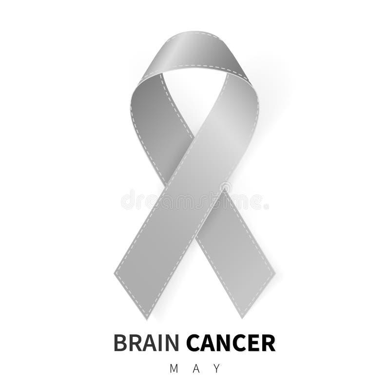 Brain Cancer Awareness Month Simbolo grigio realistico del nastro Disegno medico Illustrazione di vettore illustrazione di stock