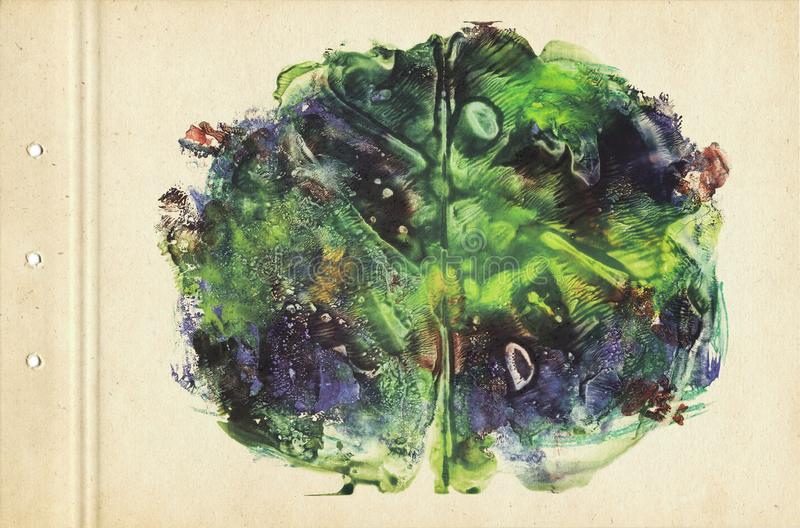 Brain. Card of rorschach inkblot test. Green, yellow and blue watercolor painting on cardboard. Vintage style. Abstract background. Brain. Card of rorschach stock illustration