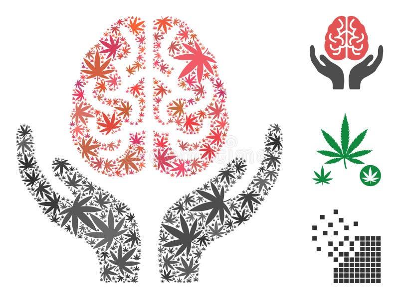 Brain Care Hands Mosaic of Cannabis stock illustration