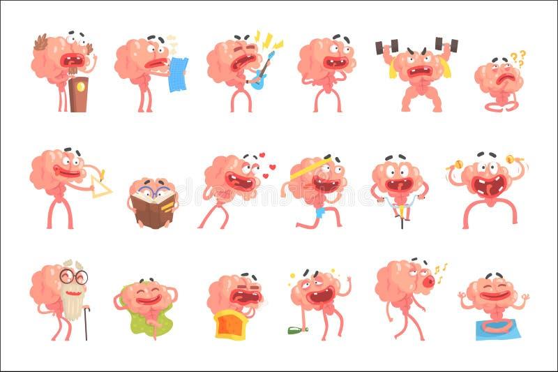 Brain Cartoon Character With Arms humanizado y escenas y emociones divertidas de la vida de las piernas fijadas de ejemplos libre illustration