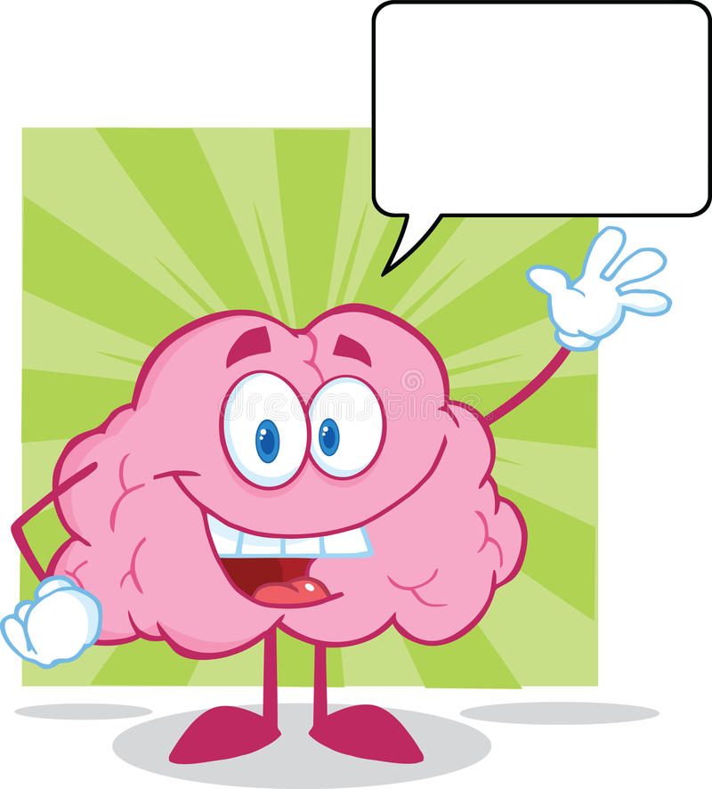 Brain Cartoon Character Waving For Greeting With S. Happy Brain Cartoon Character Waving For Greeting With Speech Bubble royalty free illustration