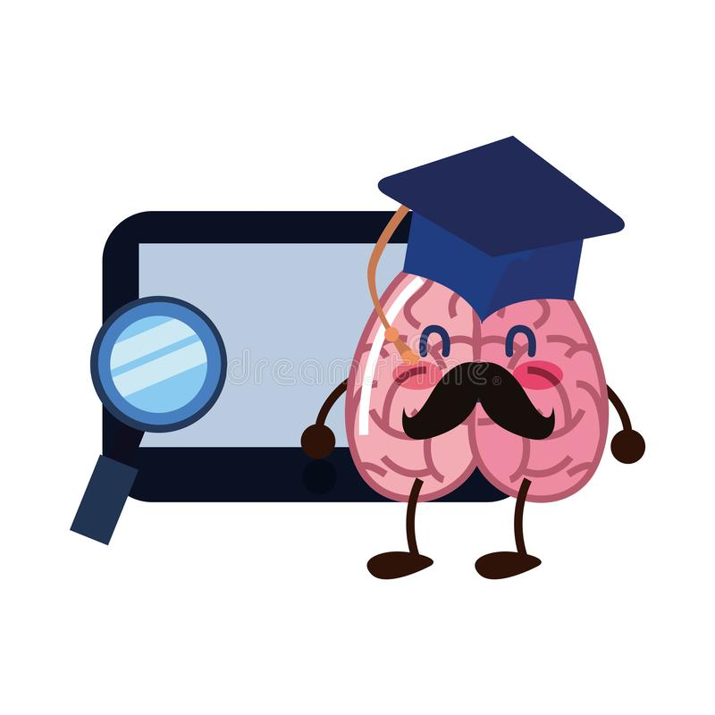 Brain cartoon tablet education. Graduation hat magnifier vector illustration vector illustration