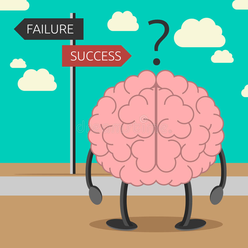 Brain character choosing way. Brain character choosing its way between failure and success. Success consciousness, positive thinking, faith, self-suggestion vector illustration