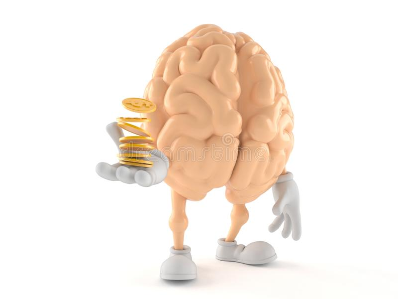 Brain character with coins. Isolated on white background. 3d illustration royalty free illustration
