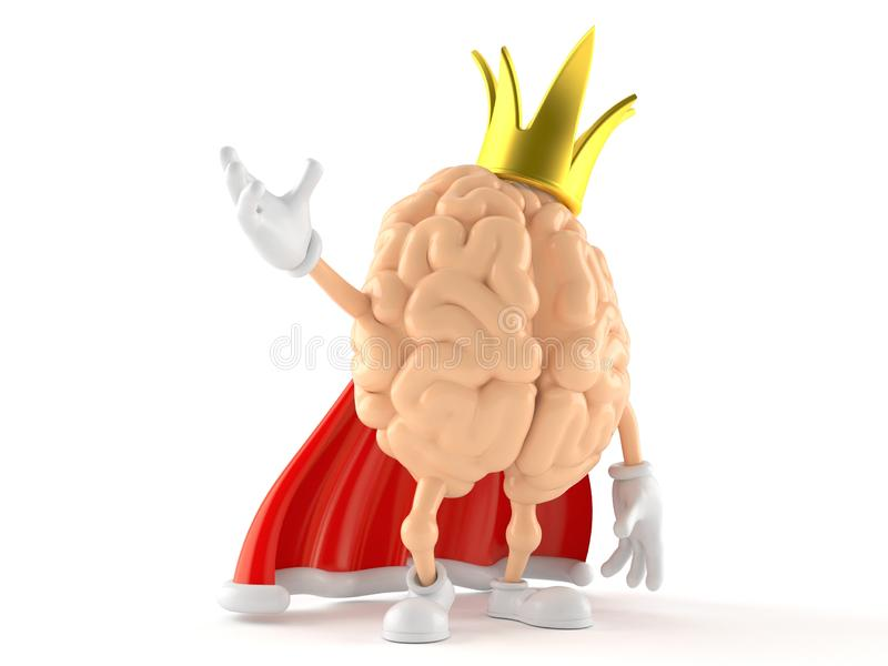 Brain character with crown. Isolated on white background. 3d illustration royalty free illustration