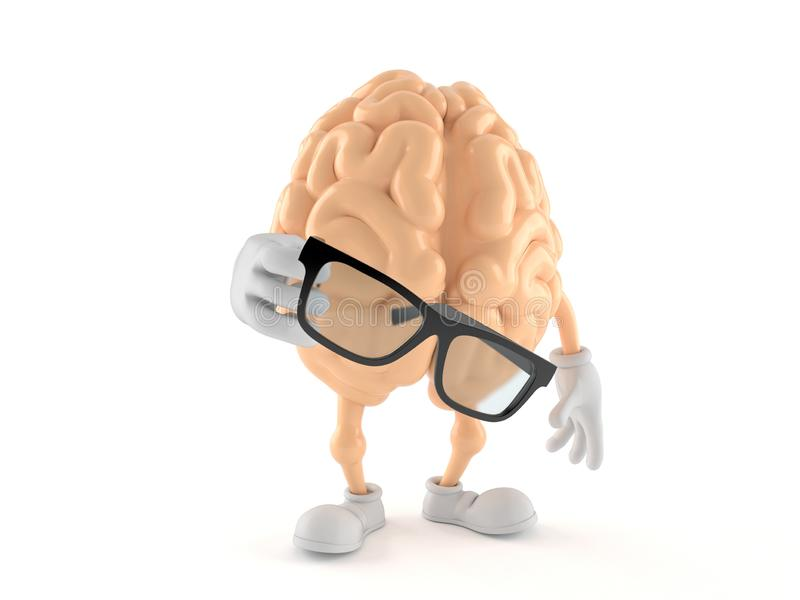 Brain character holding glasses. Isolated on white background. 3d illustration royalty free illustration