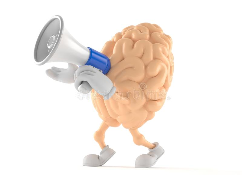 Brain character holding megaphone. Isolated on white background vector illustration