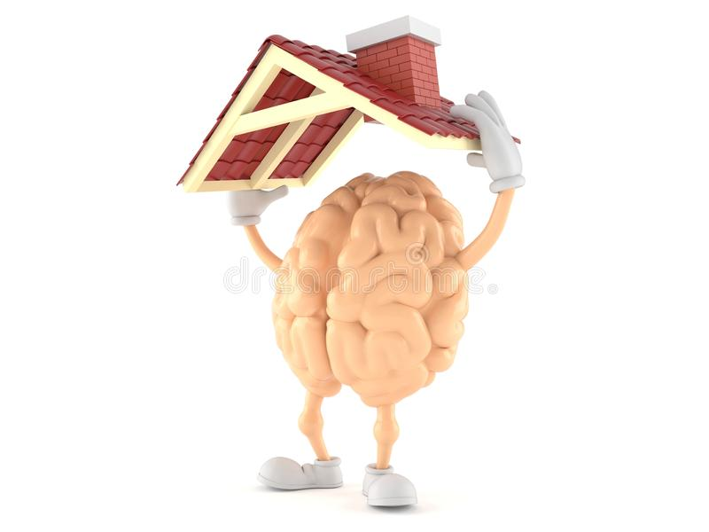 Brain character holding roof. Isolated on white background. 3d illustration royalty free illustration