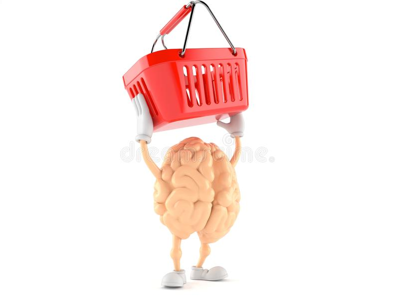 Brain character holding shopping basket. Isolated on white background. 3d illustration stock illustration