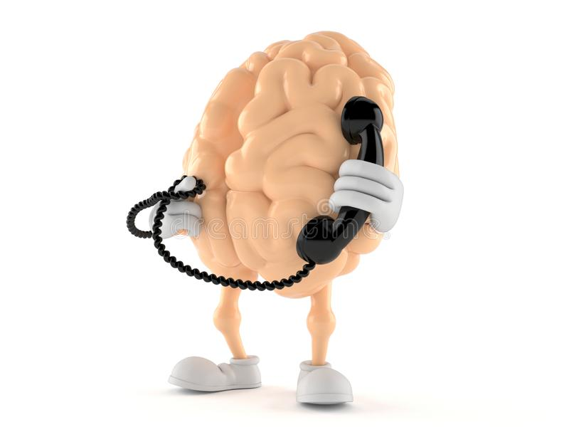 Brain character holding a telephone handset. Isolated on white background. 3d illustration vector illustration