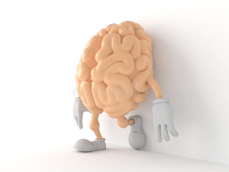 Brain character leaning on wall on white background. 3d illustration stock illustration