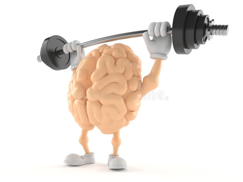 Brain character lifting heavy barbell. Isolated on white background royalty free illustration