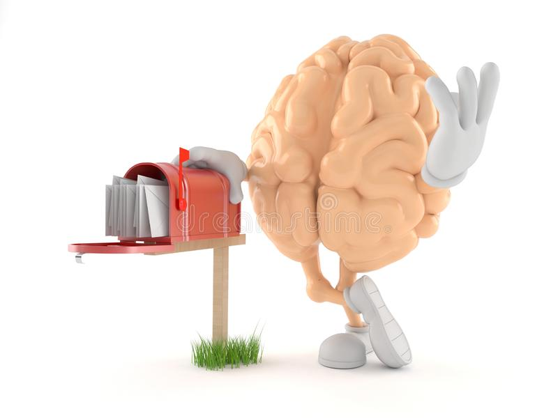 Brain character with mailbox. Isolated on white background. 3d illustration stock illustration