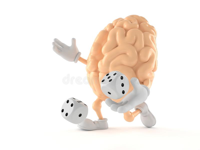 Brain character throwing dice. Isolated on white background. 3d illustration stock illustration