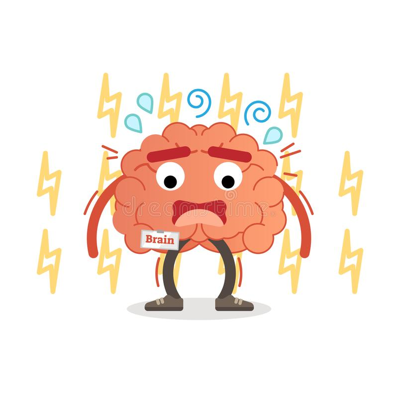 Brain character under pressure, vector illustration. Stress impulse and anxiety. Mental activity conception royalty free illustration