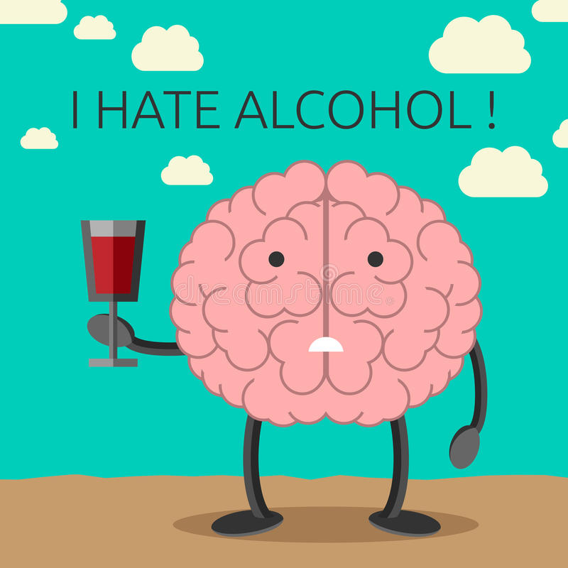 Brain character and wine. Sad brain character not willing to drink wine. Healthy lifestyle concept. EPS 10 vector illustration, no transparency royalty free illustration