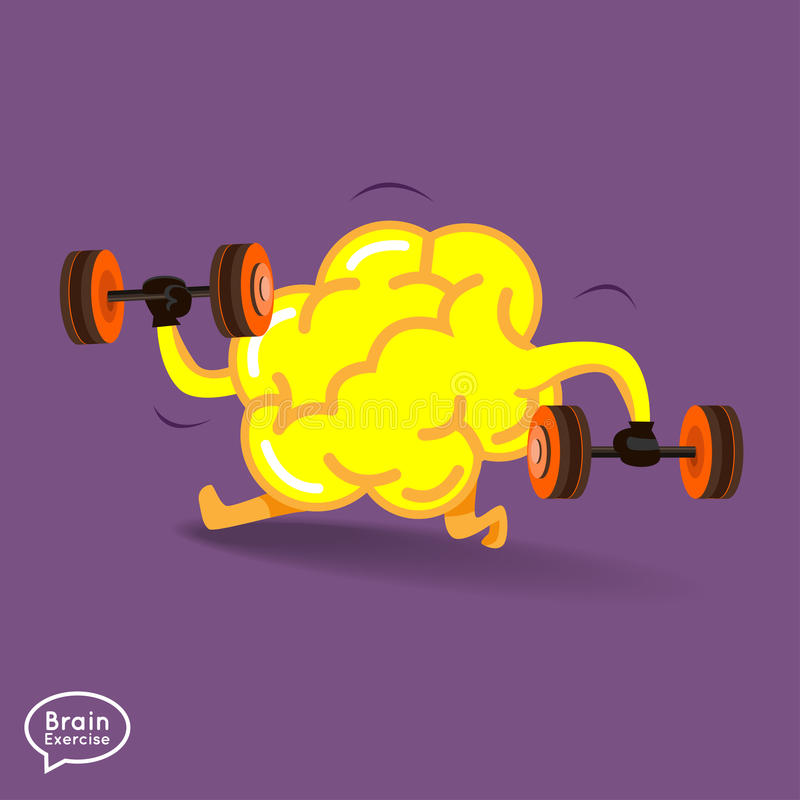 Brain. Charactor vector design fitness for smart  with dumbbell royalty free illustration