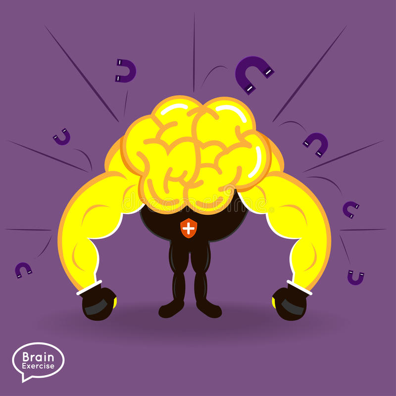 Brain. Charactor vector design fitness for smart  with positive thinking security nagative thinking royalty free illustration