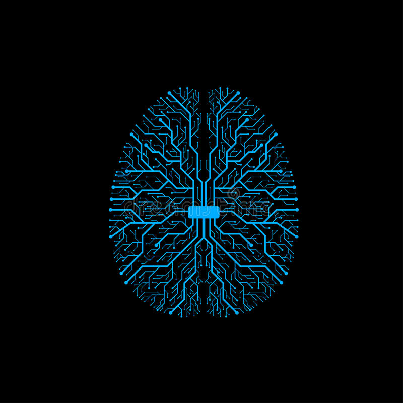 Brain with circuit board texture. Digital concept vector illustration
