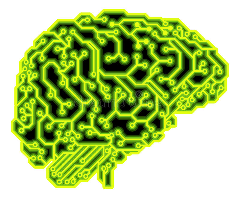 Brain Circuit Concept. A human brain made up of electrical circuits or a circuit board, could be a concept for artificial intelligence royalty free illustration
