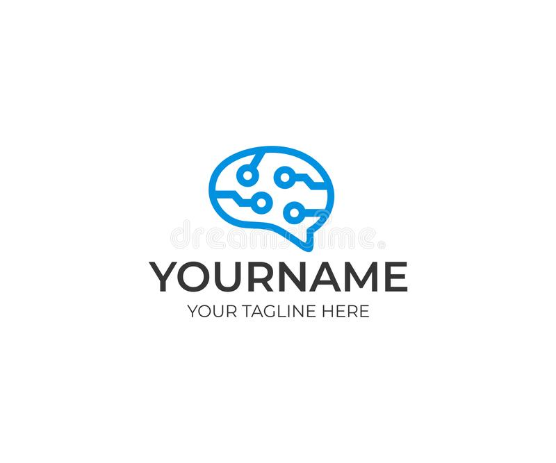 Brain circuit technology line logo template. Artificial intelligence and thinking brain concept vector design royalty free illustration