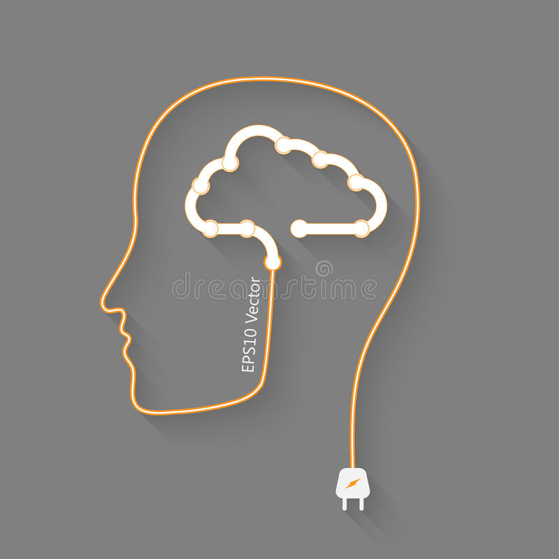 Brain and cloud vector illustration