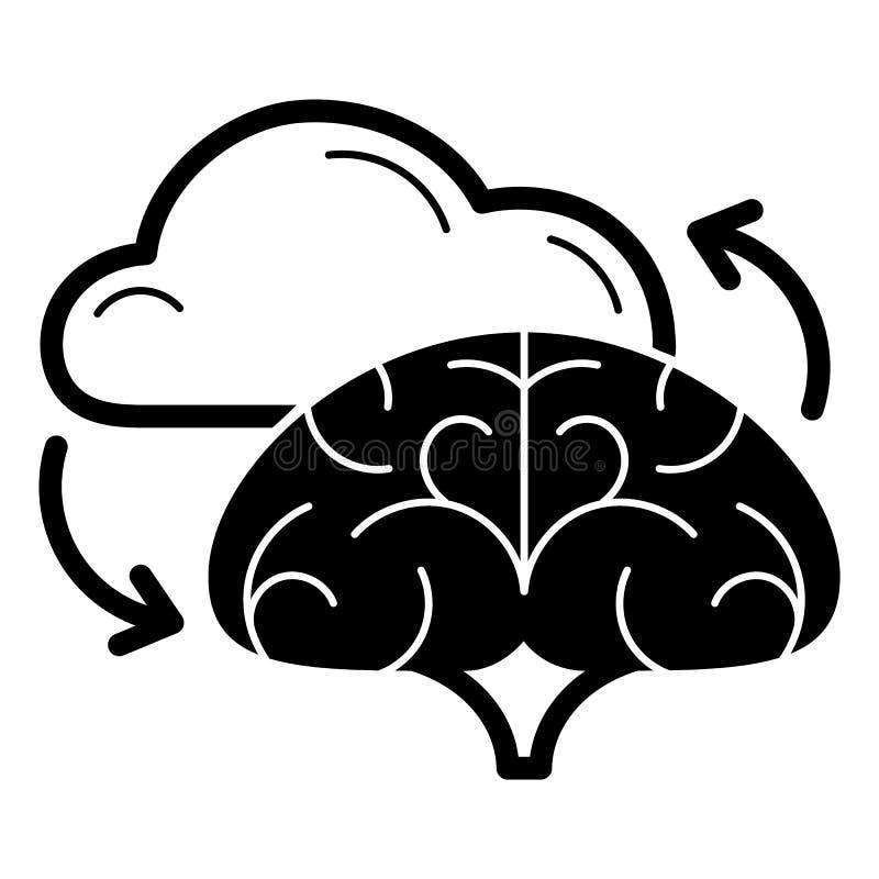 Brain cloud idea icon, simple style royalty free illustration