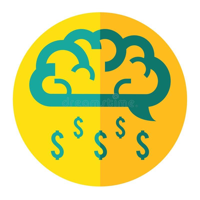 Brain cloud make money rain business icon stock illustration