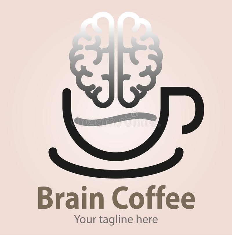 Brain coffee symbol. Vector abstract, brain coffee symbol or icon vector illustration