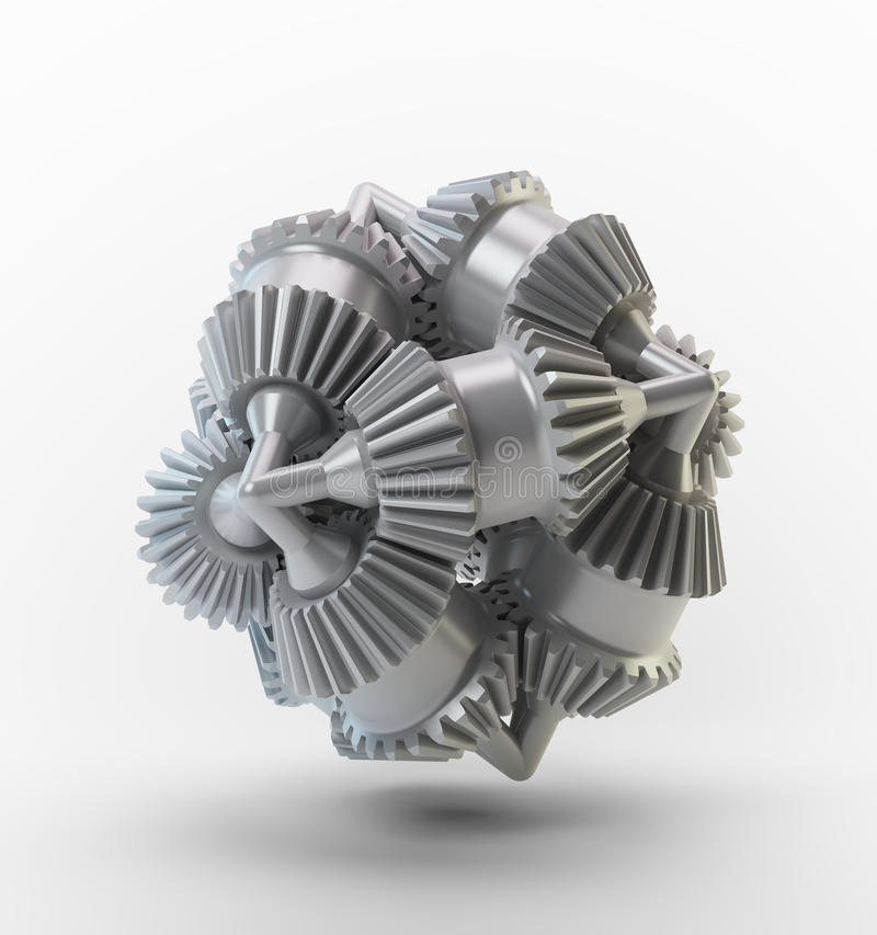 Brain cog. 3D cogs - brain cog object royalty free stock images