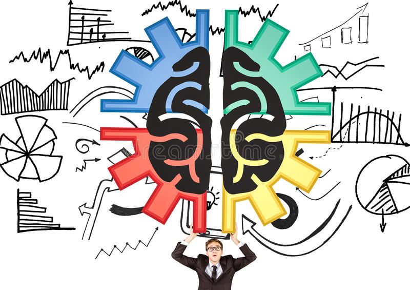 Brain in a cog and business man carrying it. White and graphic background. Digital composite of Brain in a cog and business man carrying it. White and graphic vector illustration