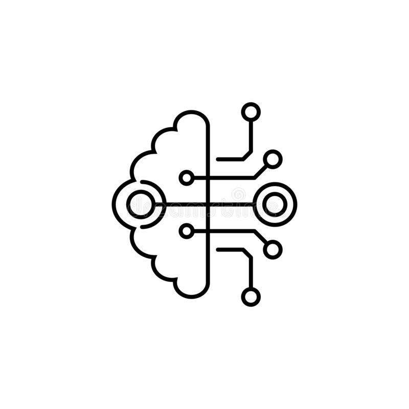 Brain, computer, cyber, intelligence, interface icon. Element of future technological pack for mobile concept and web apps icon. Thin line icon for website royalty free illustration