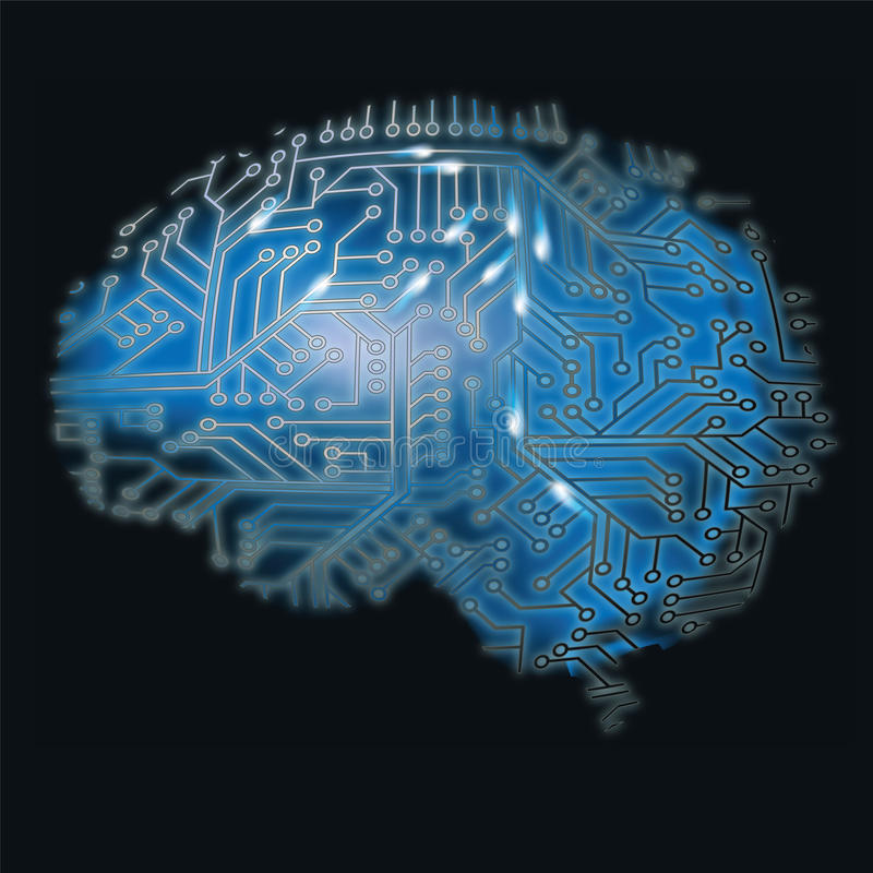 Brain and computer. Brain, computer and exploring the central nervous system stock illustration