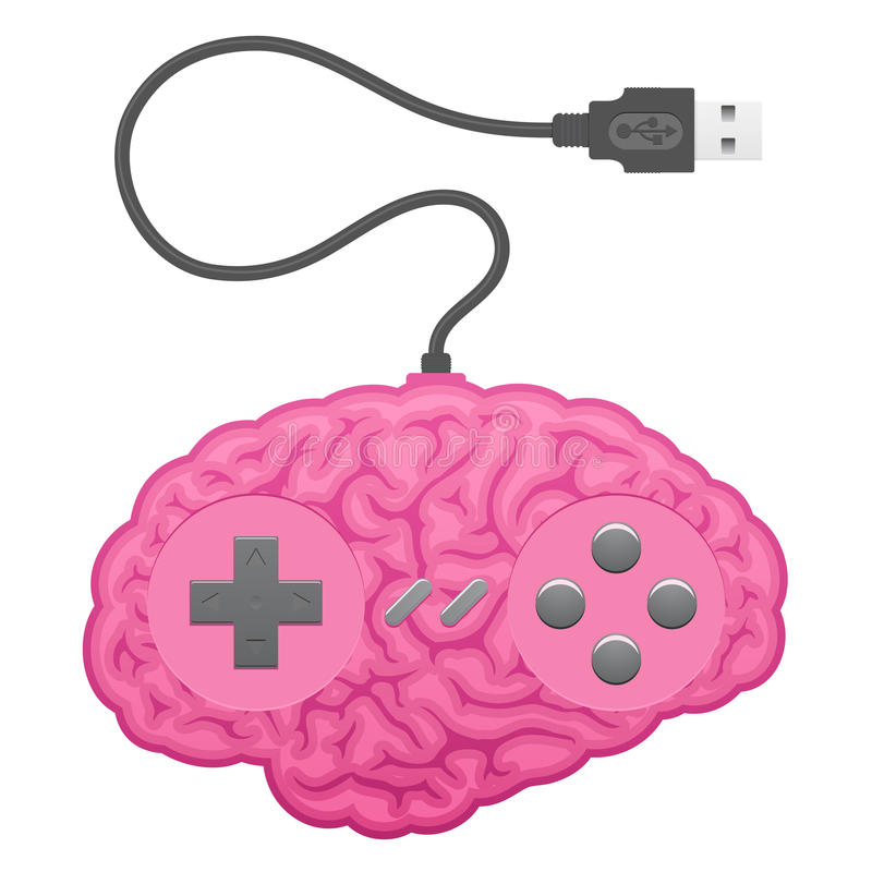 Brain computer game pad royalty free illustration