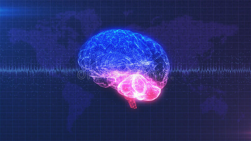 Brain computer image - digital pink, purple and blue brain with brainwave animation stock illustration