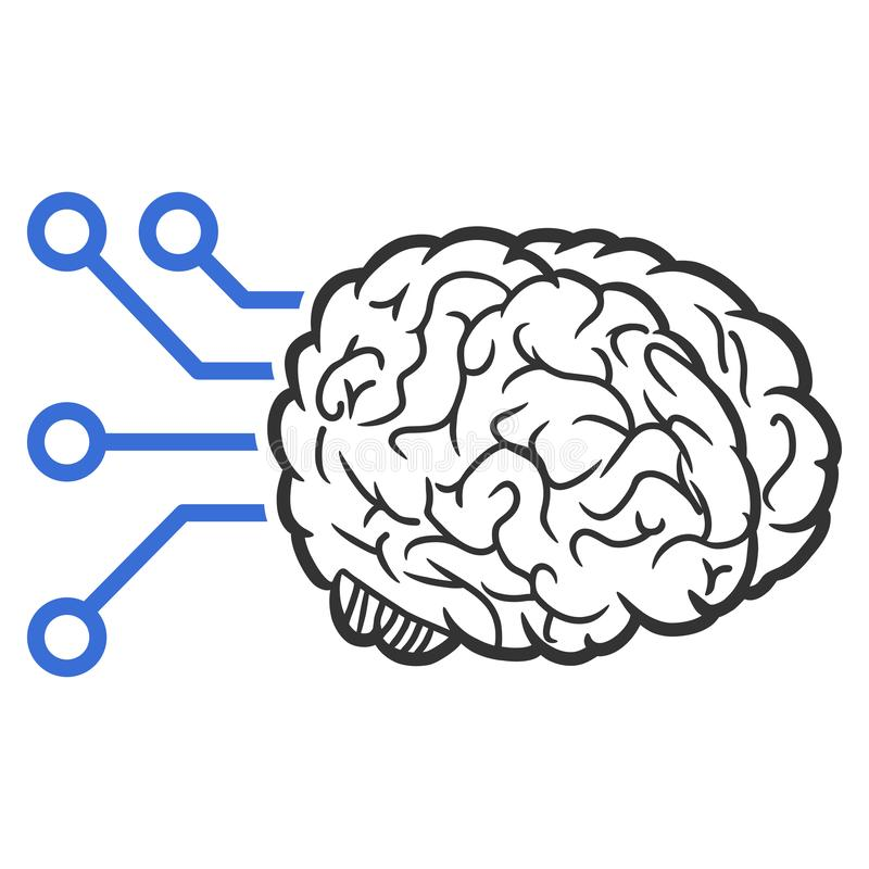 Brain Computer Interface Raster Icon illustration de vecteur