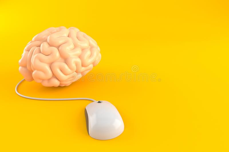 Brain with computer mouse. Isolated on orange background. 3d illustration vector illustration