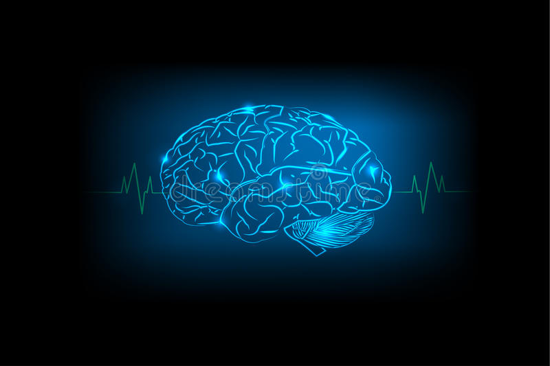 Brain Concept of blue background royalty free illustration