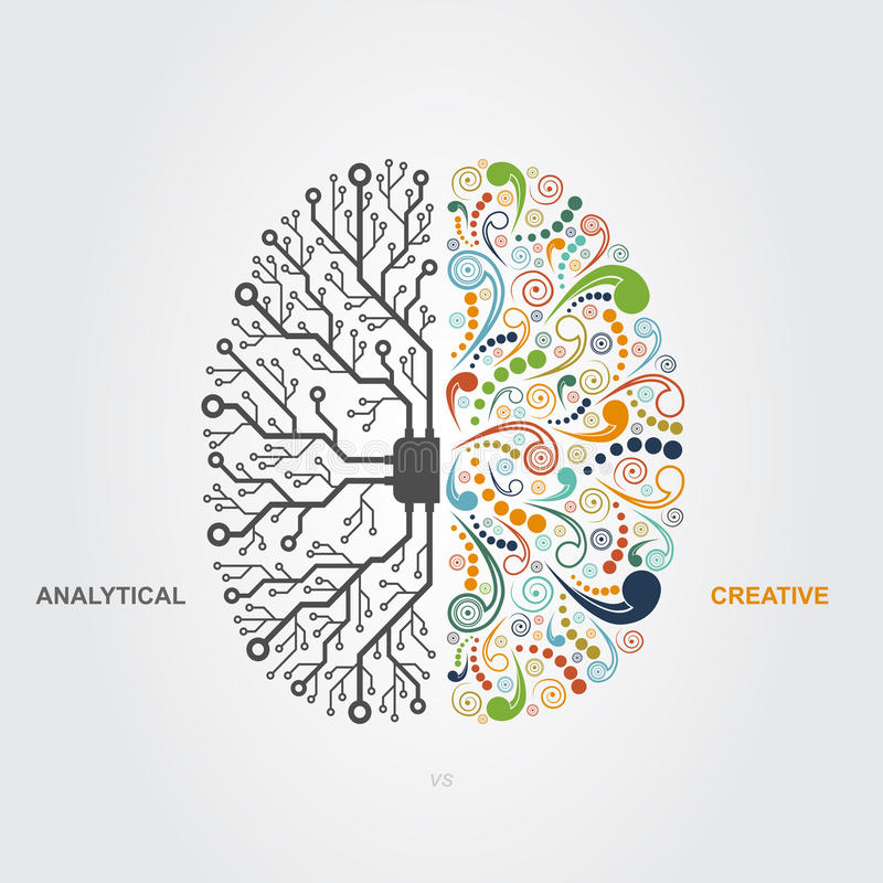 Brain concept. Left and right brain functions concept, analytical vs creativity royalty free illustration