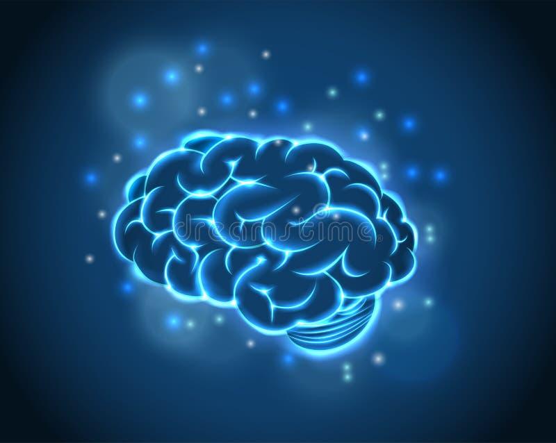 Brain Concept van blauwe achtergrond stock illustratie