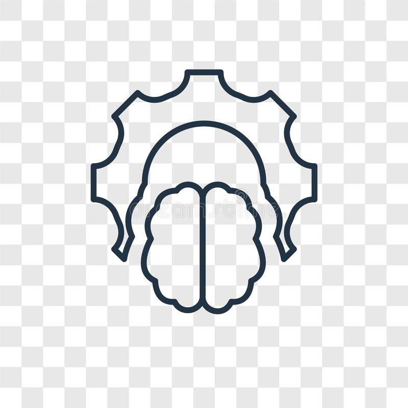 Brain concept vector linear icon isolated on transparent background, Brain concept transparency logo in outline style. Brain concept vector linear icon isolated royalty free illustration