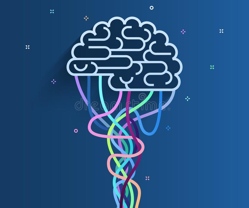 The brain is connected to the network. Concept of artificial intelligence. The brain is connected to the network. Concept of artificial intelligence. Flat royalty free illustration