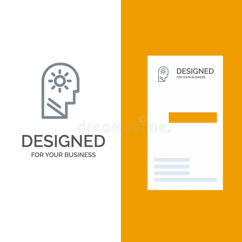 Brain, Control, Mind, Setting Grey Logo Design and Business Card Template stock illustration