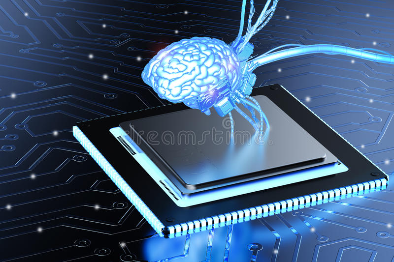 Brain on cpu chip. 3d rendering shiny blue brain on cpu chip stock image