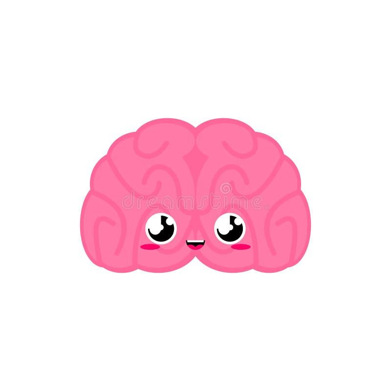 Brain Cute estilo engraçado dos desenhos animados do órgão interno Caráter humano das crianças da anatomia O estilo das crianças ilustração do vetor